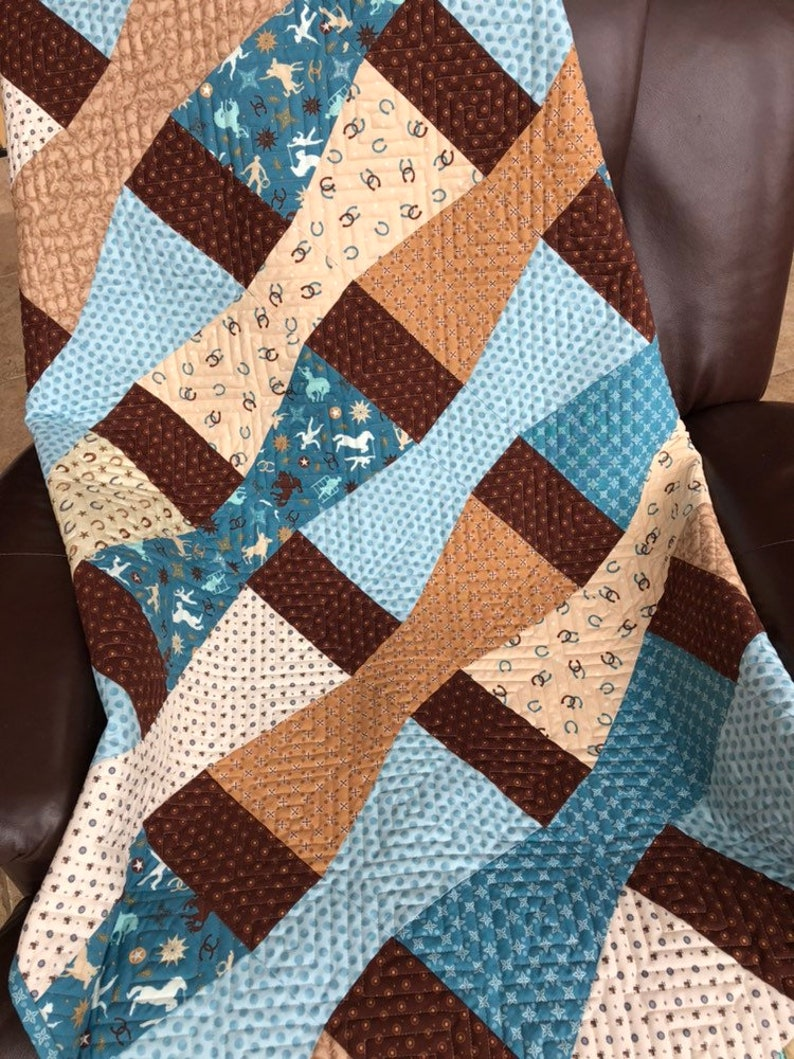 Western Theme Quilted Throw Blanket Ready to Ship From image 0