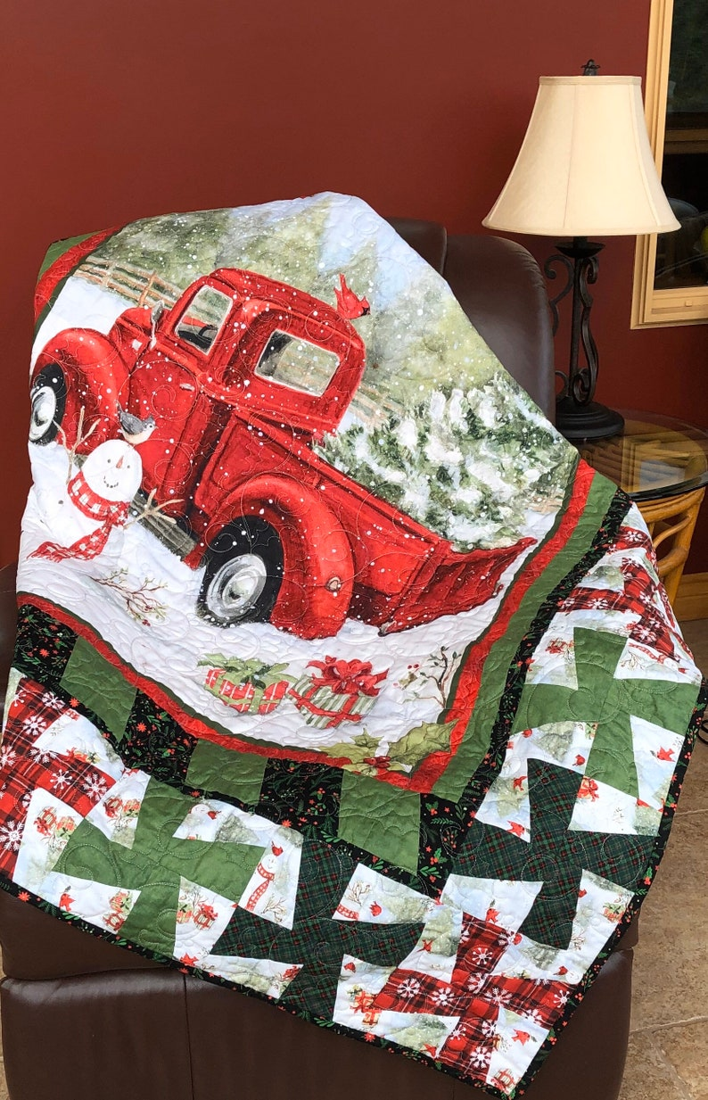 Vintage Red Truck Christmas Fun Lap Quilt From QuiltieSisterS image 0