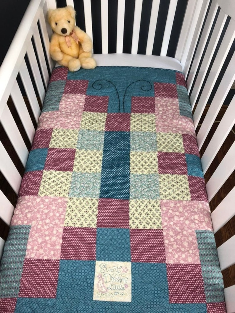 Butterfuly pre-cut Baby Quilt Kit  A perfect beginner quilt image 0