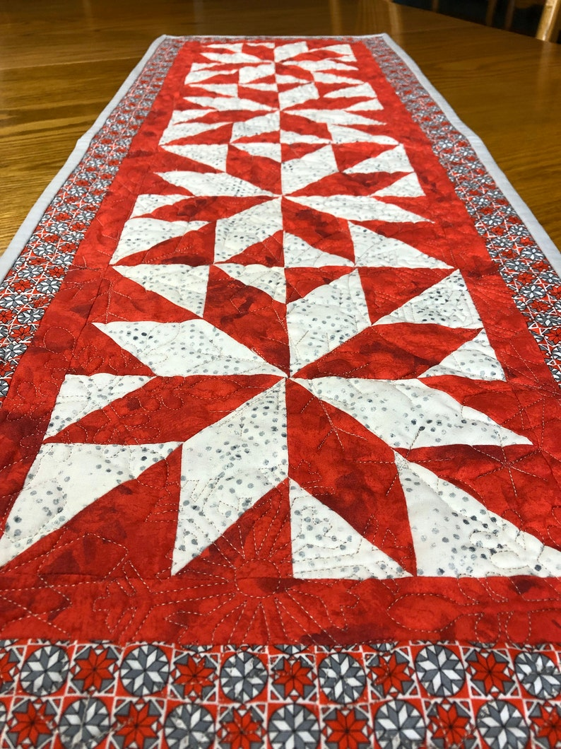 Lemoyne Star Quilted Table Runner From QuiltieSisterS. image 0