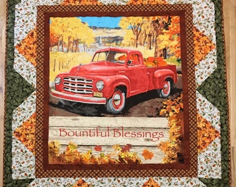 Vintage Red Truck Autumn Blessings Lap Quilt Kit From QuiltieSisterS.  Ready for you to sew!