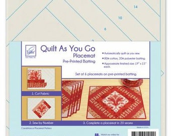 Quilt As You Go Placemat, Placemat Pre-Printed Batting, Sewing Project Kit