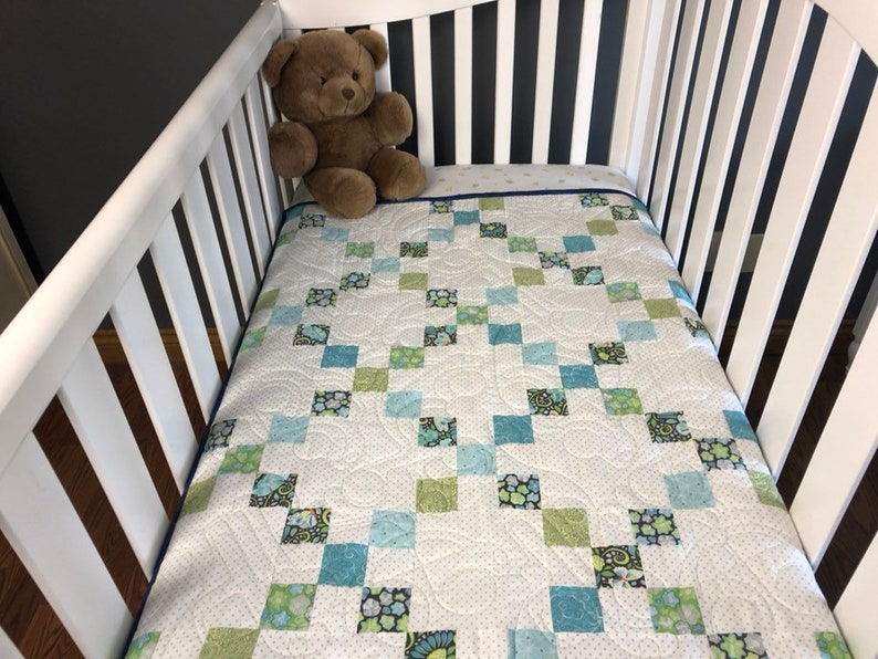 Baby boy classic Irish chain quilt kit.  Patchwork quilt kit image 0