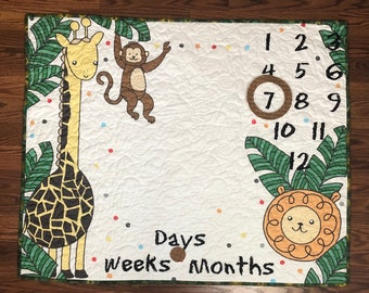 Baby Growth Mat, Jungle Mat Kit or 1 Panel, Baby Milestone Quit, Baby Photo Mat, Oh How They Grow