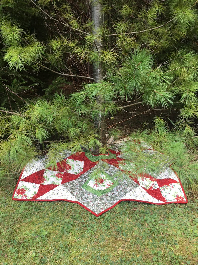 Quilted Handmade Christmas Tree Skirt From QuiltieSisterS image 0