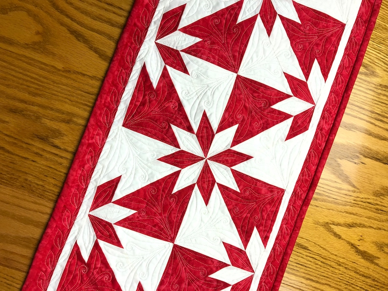 Valentine Red Table Runner Hunter Star Quilt Kit From image 0