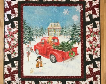 Vintage Red Truck Lap Quilt Kit From QuiltieSisterS with Pinwheel Borders.  Ready, Set, Sew!