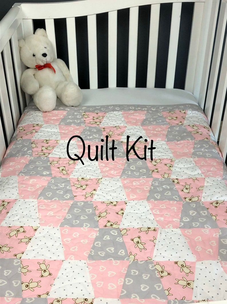 Pink Baby Quilt Kit  Pre-Cut Tumbler Shapes.  Get sewing image 0