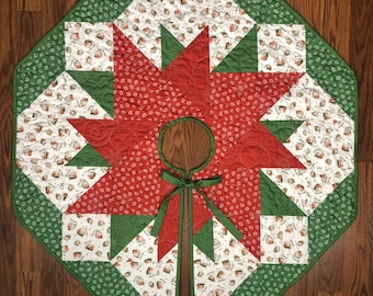 Christmas Tree Skirt, Quilted Tree Skirt for Sale, Xmas Tree Skirt, Christmas Tree Skirt, Ready to Ship from QuiltieSisterS