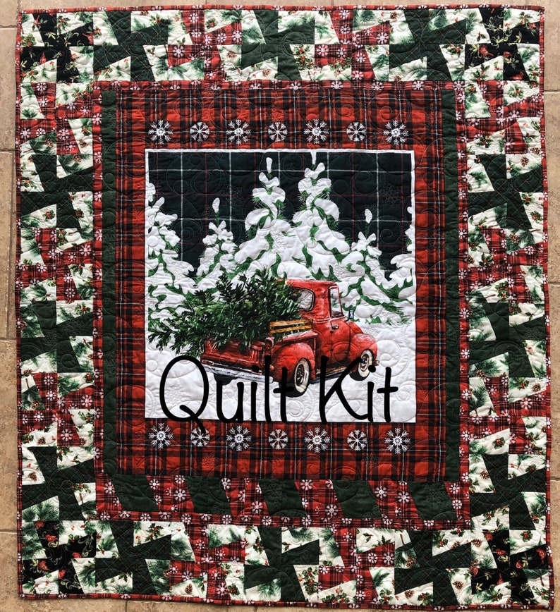 Vintage Red Truck Plaid Country Christmas Lap Quilt Kit From image 0
