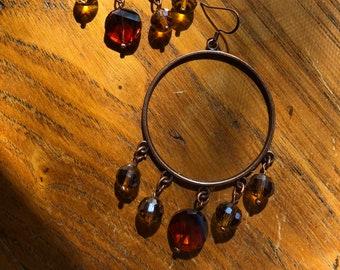 hoop earrings, earrings, topaz crystals, antique copper earrings, beads