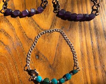 bracelets, gemstone bracelets, beads, amethyst, turquoise
