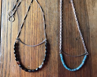 bar necklace,agate, carribean blue beads, necklaces, chain, silver necklaces