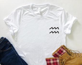 67e49cfca7d Aquarius Zodiac Sign Pocket Unisex Jersey Short Sleeve T-shirt