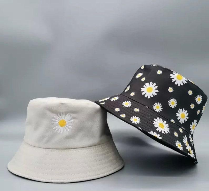 Daisy, Coconut Tree, Letter, Smile Double-side Unisex Bucket Hat Fashion Outdoor Cap
