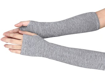 Fall/Winter Long Arm Fingerless Mitten Knitted Elbow Hand Gloves One Size