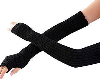 Fall/Winter Long Arm Fingerless Knitted Mitten Elbow Hands Gloves One Size