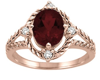 Garnet and Diamond Ring in 10K Gold
