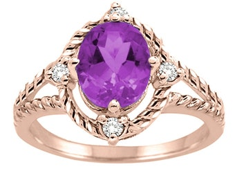 Amethyst and Diamond Ring in 10K Gold