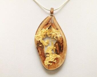 Olive wood ornaments,olive wood gold leaf,wood ornament olive,necklace of wood,pendant olive,necklace olive wood,olive wood with gold,handmade