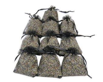 Bridal Shower Sachet Bags, Dried Floral Lavender Natural Linen Sachets Sets, Purple Lavender Buds for Aromatherapy, Potpourri - LS001-17