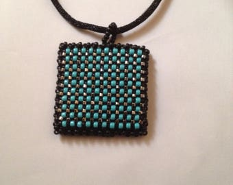 Blue and Black Beaded Pendant