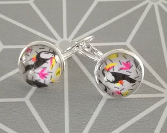 Silver earrings silver cabochon earrings pink toucan pink yellow tropical