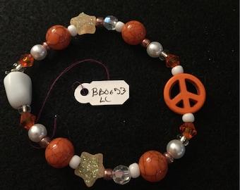 Orange Peace Sign Beaded Bracelet