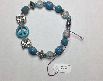 Blue Peace Sign Beaded Bracelet