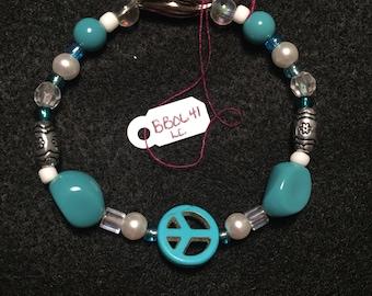 Turquoise Peace Sign Beaded Bracelet