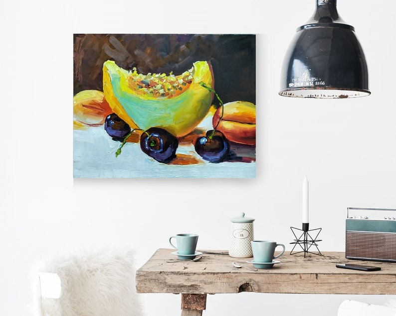 Still Life Fruit Oil Painting On Canvas Interior Wall Art Pumpkin Modern Art Interior Decor Colorful Artwork Kitchen Fruit Art Gift For Mom