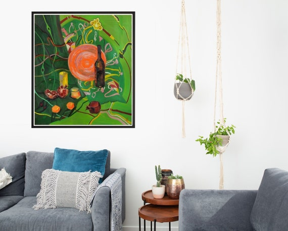 Exceptionnel Still Life Oil Painting Interior Painting Dining Room Decor   Etsy