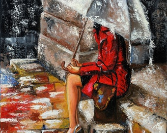 Rainy Day Umbrella Palette Knife Original Painting Fine Art Rainy Mood Gift For Her Good Thoughts Alone Canvas Wall Art Cityscape Rain Paint