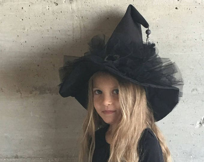 Mini witch hat silver broom and tulle pompom