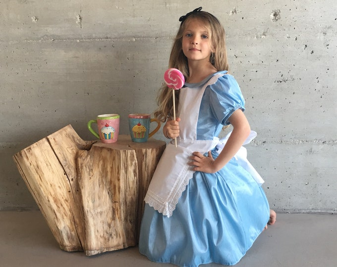 Alice in Wonderland, luxury girl costume, taffeta and cotton