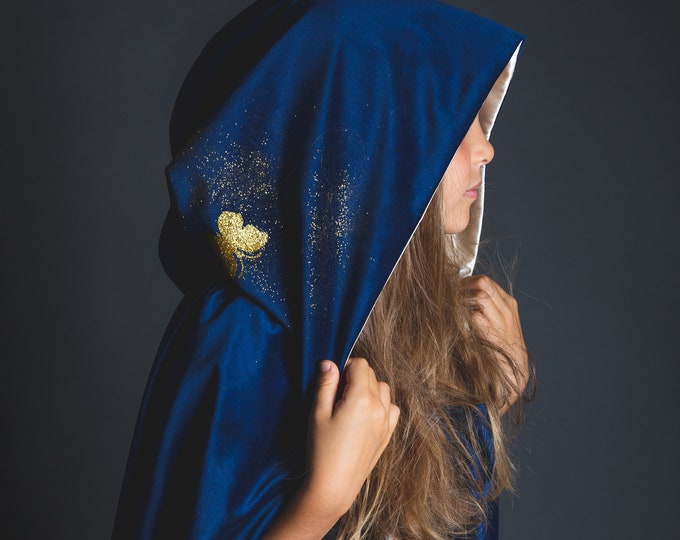 Long blue velvet and ivory satin cape, medieval cape, princess cape