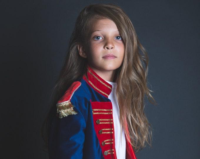 Nutcracker coat, girl circus coat, satin lining, gold buttons, velvet