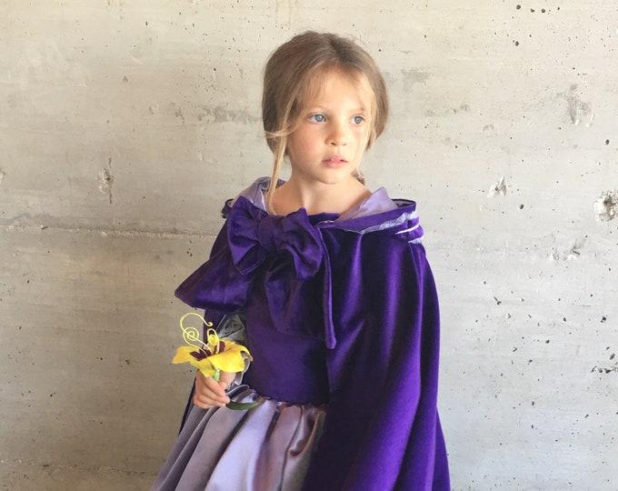 Rapunzel velvet Cape, costume luxury, purple velvet, satin lining