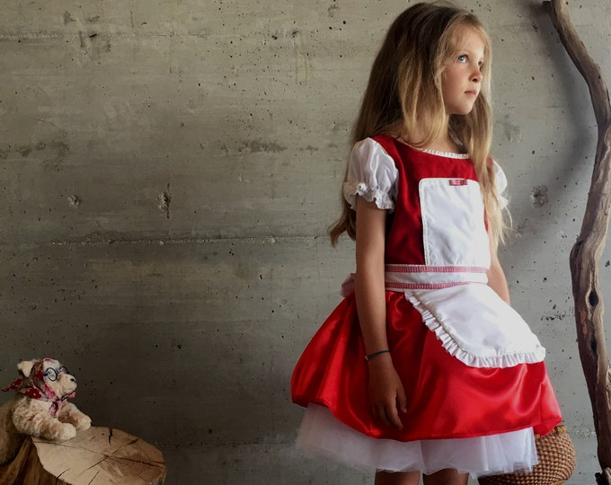 Little Red Riding Hood dress, red velvet and satin, luxury suit, girl's dress