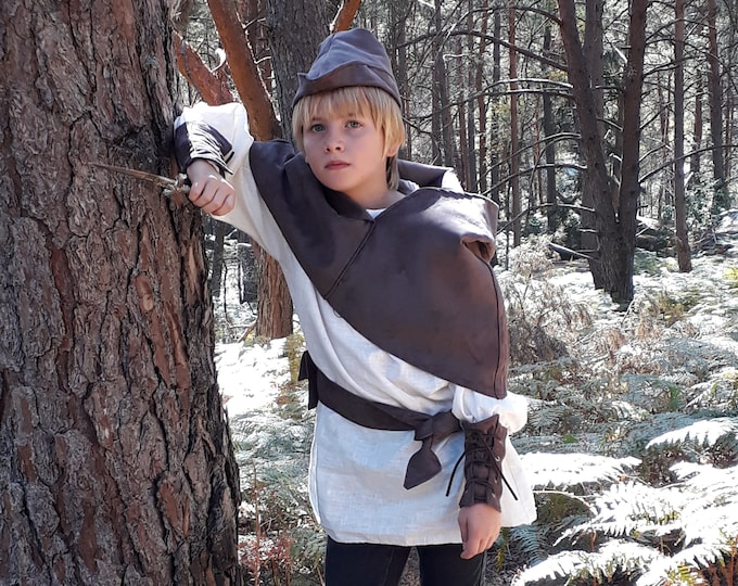 Robin Hood costume, medieval archer suit, luxury suit, suede lined, skin effect, linen tunic, handmade