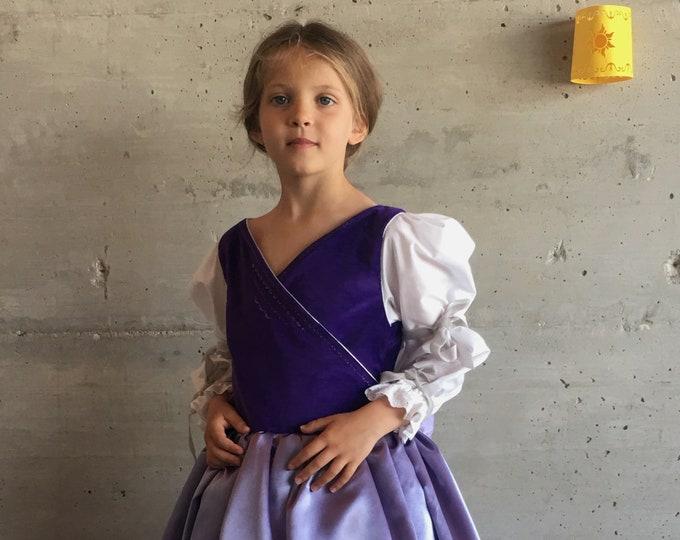 Princess dress in purple velvet and lilac satin, Girl Rapunzel style, cotton lining, handmade.