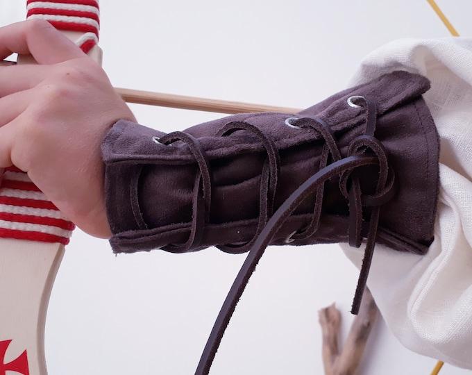 Robin Hood cuffs, archer cuffs, double-thick suede, skin effect, handmade
