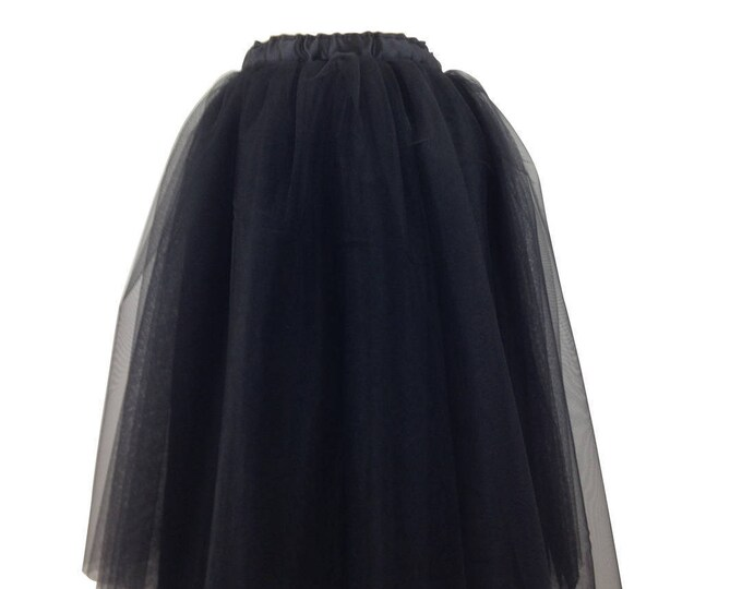 Tutu long black tulle and satin