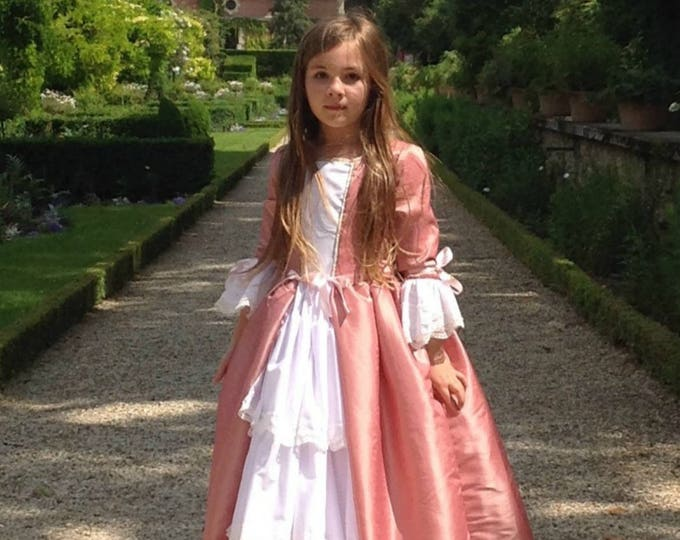 Disguise princess girl, princess dress, marquise costume, pink taffeta, white cotton, lace