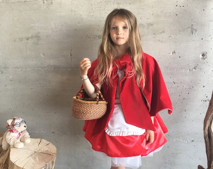 Little Red Riding Hood, dress and cape, luxury suit, red velvet, satin, cotton