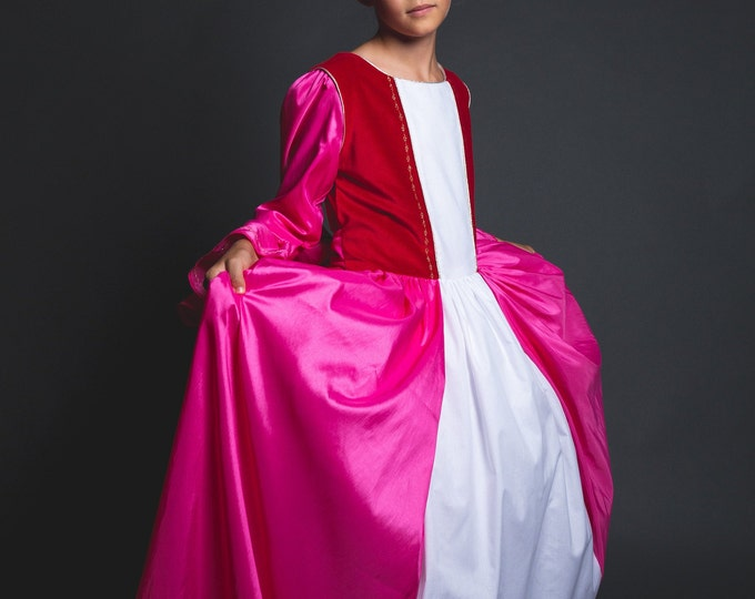 Beauty and the Beast, Christmas dress, Belle dress in pink taffeta and red velvet