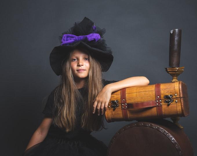 Taffeta witch hat, purple velvet knot, black tulle, mini witch, pearls