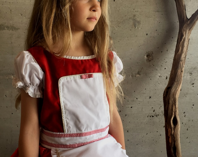 Little Red Riding Hood dress in red velvet and satin for girls
