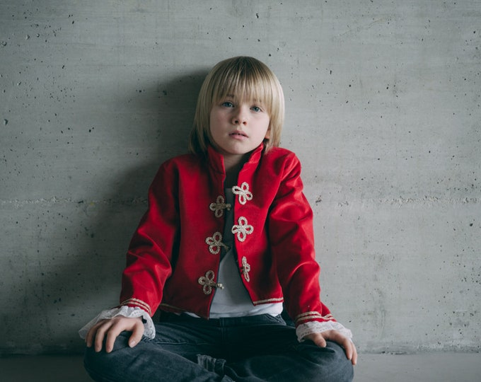 Red cotton velvet pirate costume, boy circus costume, luxury handmade costume