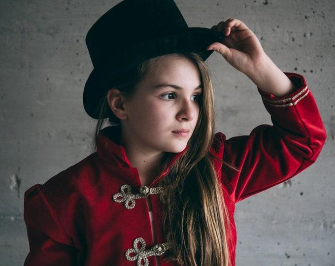 Red velvet coat, girl squire, nutcracker, circus, satin lining, gold brandenburg